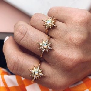Celestial Starburst GOLD Lab Opal Pave CZ Ring